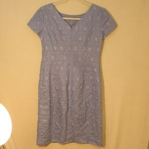 Talbots Periwinkle Blue Embroidered Floral Dress